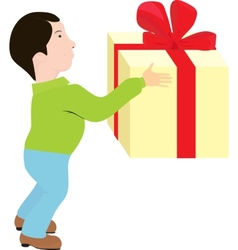 man with gift vector image vector image