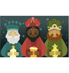 three wise men bring presents to jesus vector image
