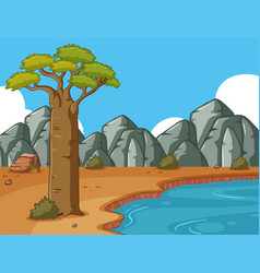 scene with rocky mountains and pond vector image