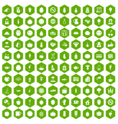 100 vegetarian cafe icons hexagon green vector
