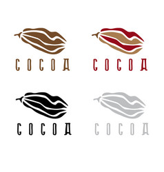 abstract cocoa beans deign template set vector image