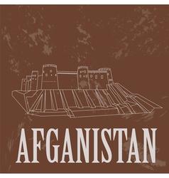 Afganistan landmarks retro styled image vector