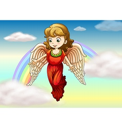 An angel and a rainbow vector image