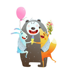 animal friendship bear rabbit fox hug vector image