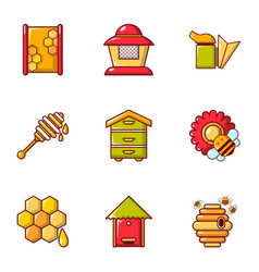 Apiculture equipment icons set flat style vector