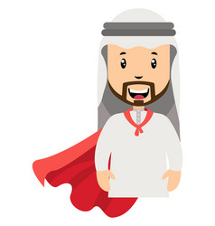 arab with red cape on white background vector image