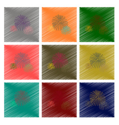 Assembly flat shading style firework vector