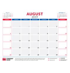 August 2019 calendar planner stationery design vector