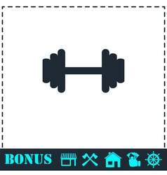 Barbell icon flat vector