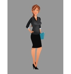 Beauty woman working black suit folder file vector