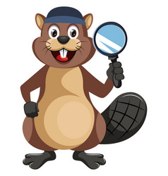 beaver with magnifying glass on white background vector image