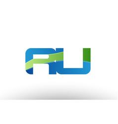 Blue green ru r u alphabet letter logo vector