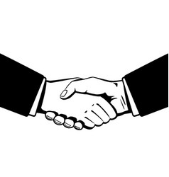 Business handshaking black and white vector
