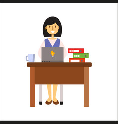 business people woman character sitting at office vector image