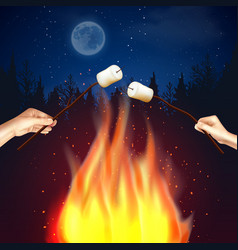 Camp fire marshmallow composition vector