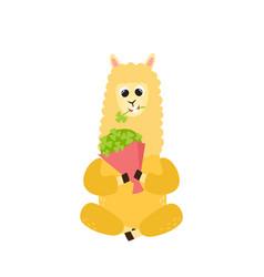 Cartoon funny alpaca vector