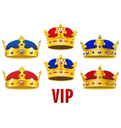 Cartoon golden crowns with jewels and velvet vector