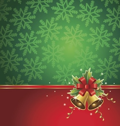 Christmas background with bells ribbons stars vector