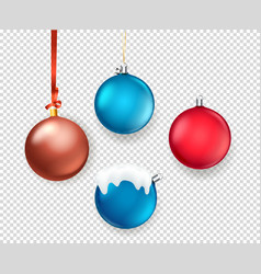 christmas matte color baubles collection objects vector image