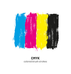 Cmyk colored brush strokes vector
