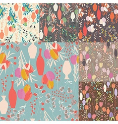 collection seven seamless patterns with flowers vector image