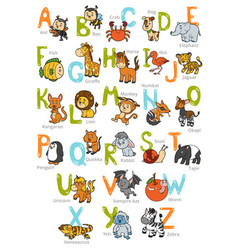 Color zoo alphabet with cute animals vector