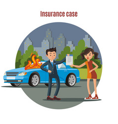 Colorful car insurance template vector