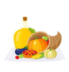Colorful thanksgiving food decoration elements vector