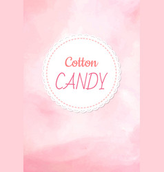 Cotton candy logo fluffy candyfloss pink color vector