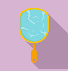 Cracked hand mirror icon flat style vector