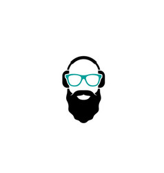 creative old beard man headphone logo design vector image