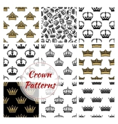 crowns seamless royal patterns vector image
