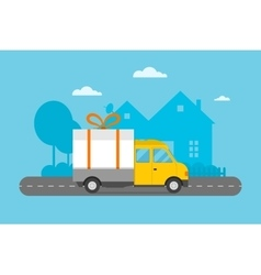 Delivery transport gift box truck vector