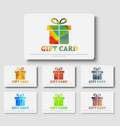 Design gift cards with abstract polygonal boxes vector