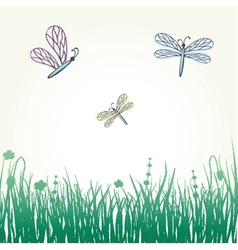 Dragonfly with stylized blossoms vector