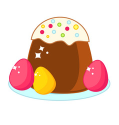 Easter cake with colored eggs easter food clip vector