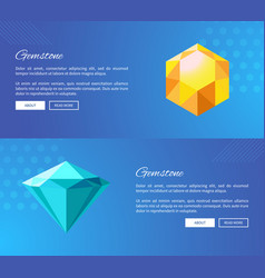 Faceted gemstones of bright colors promo pages vector