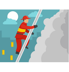 firefighter on stairs concept flat style vector image