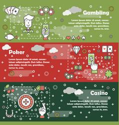 flat line art poker card game banner set vector image