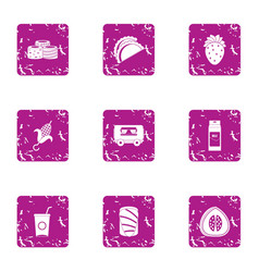 Foodstuffs icons set grunge style vector