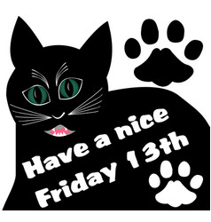 Friday 13th with thick black angry cat and two vector