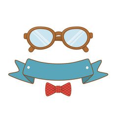 glasses with ribbon and bow tie vector image