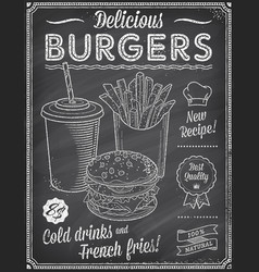 Grunge chalkboard fast food menu template 4 vector