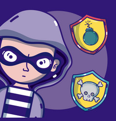 Hacker with virus and cybercrimes symbols vector