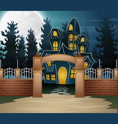 Halloween background with scary house and full moo vector
