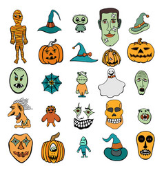 halloween monsters and hats vector image