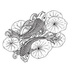hand drawn two koi fishes with lotus leav vector image