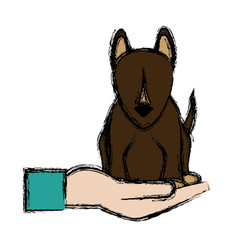 Hand holding dog symbol animal protection concept vector