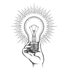 hand holding light bulb sketch vector image
