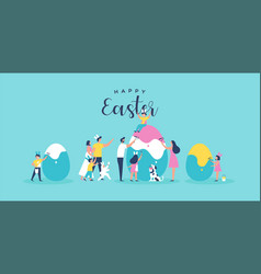 Happy easter family people painting egg card vector